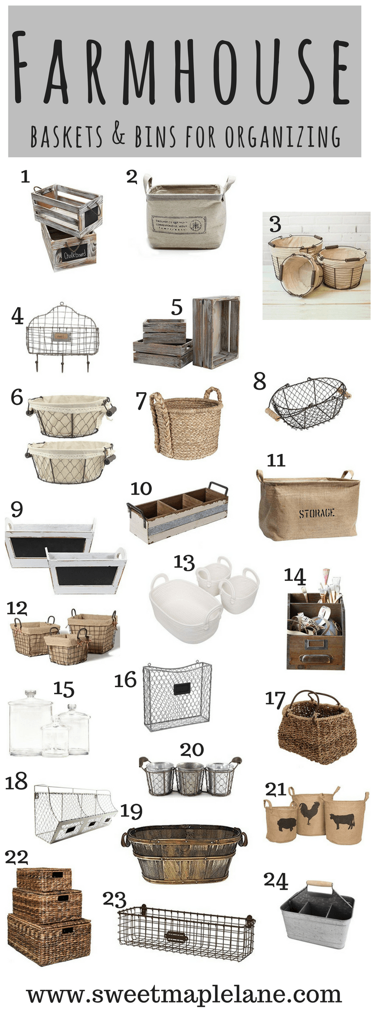 Rustic Farmhouse Baskets and Bins for Organizing | Basket ...