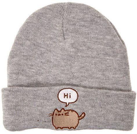 46ecc18d03a Pusheen says Hi and Bye on this cute gray beanie hat.