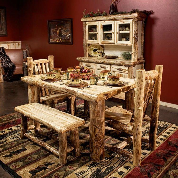 Beaver Creek Aspen Log Dining Table Outdoor Dining Furniture Dining Furniture Bar Furniture
