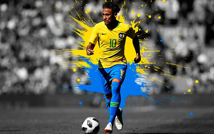 Download Wallpapers Neymar Jr Art 4k Brazil National Football Team Blue And Yellow Splashes Of Paint Grunge Art Brazilian Footballer Creative Art Brazil Neymar Jr Neymar National Football Teams