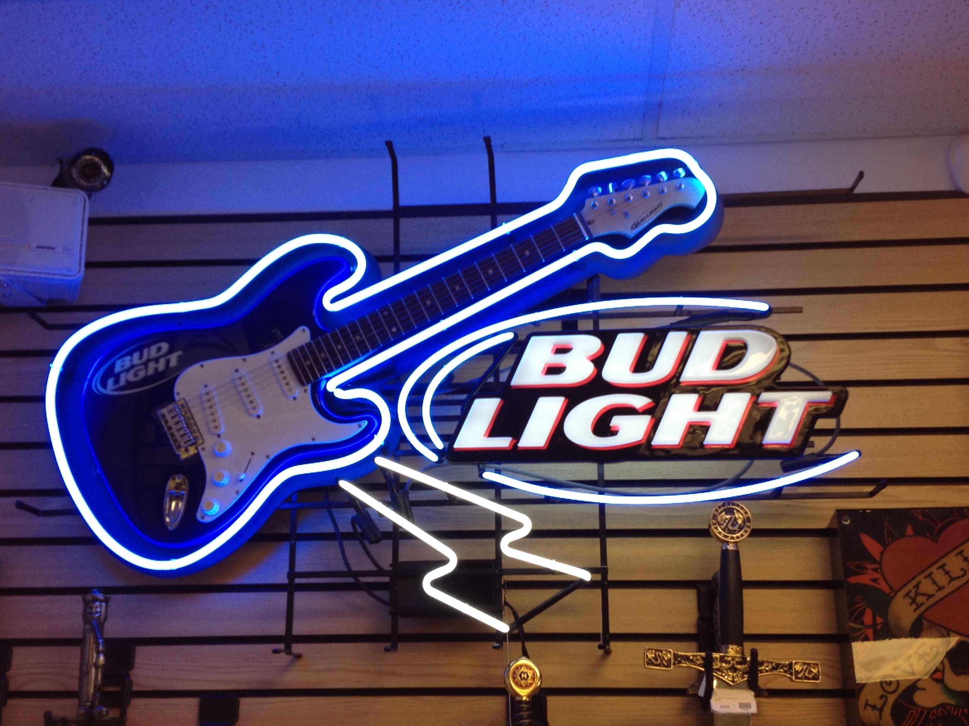 Bud Light Neon Sign w/Guitar For Sale 732 228 7089 | Bud