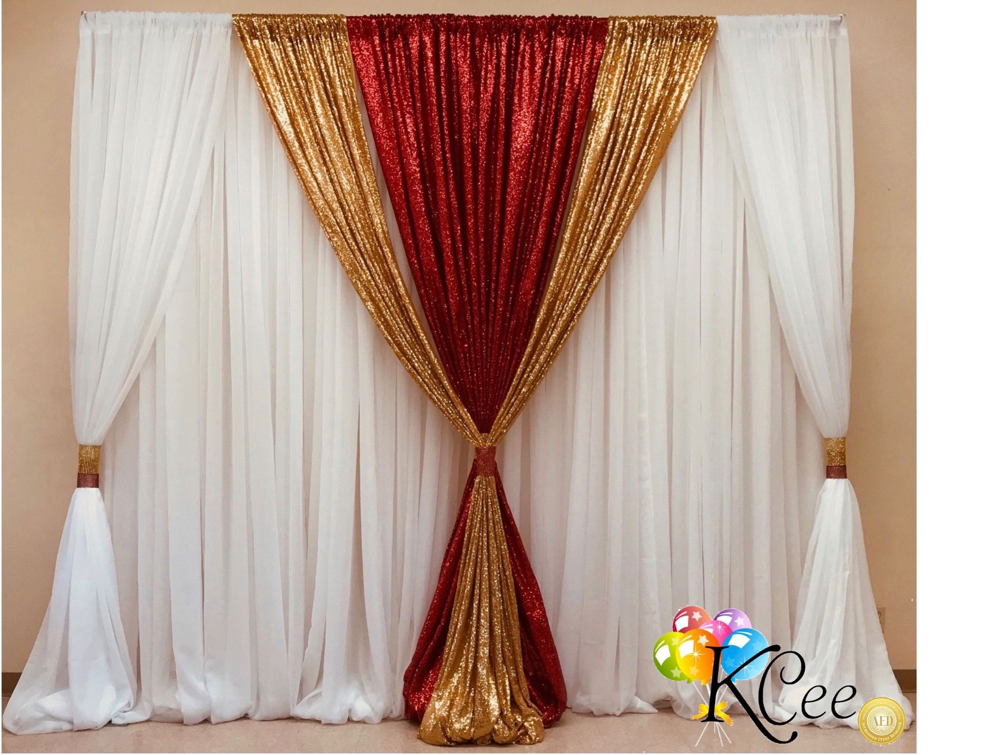 Stunning 1 Panel Backdrop White Flowing Fabric W Sequins Accents