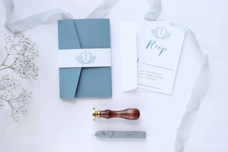 Dusty Blue Wedding Invitation Pale Monogram Pocket