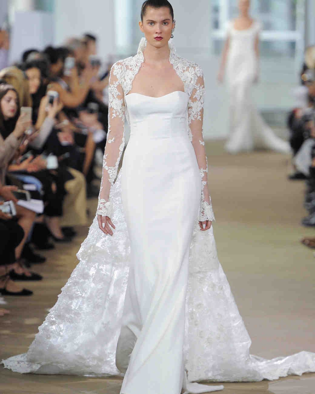 Wedding dress with removable train  Ines Di Santo Spring  Wedding Dress Collection  Martha Stewart