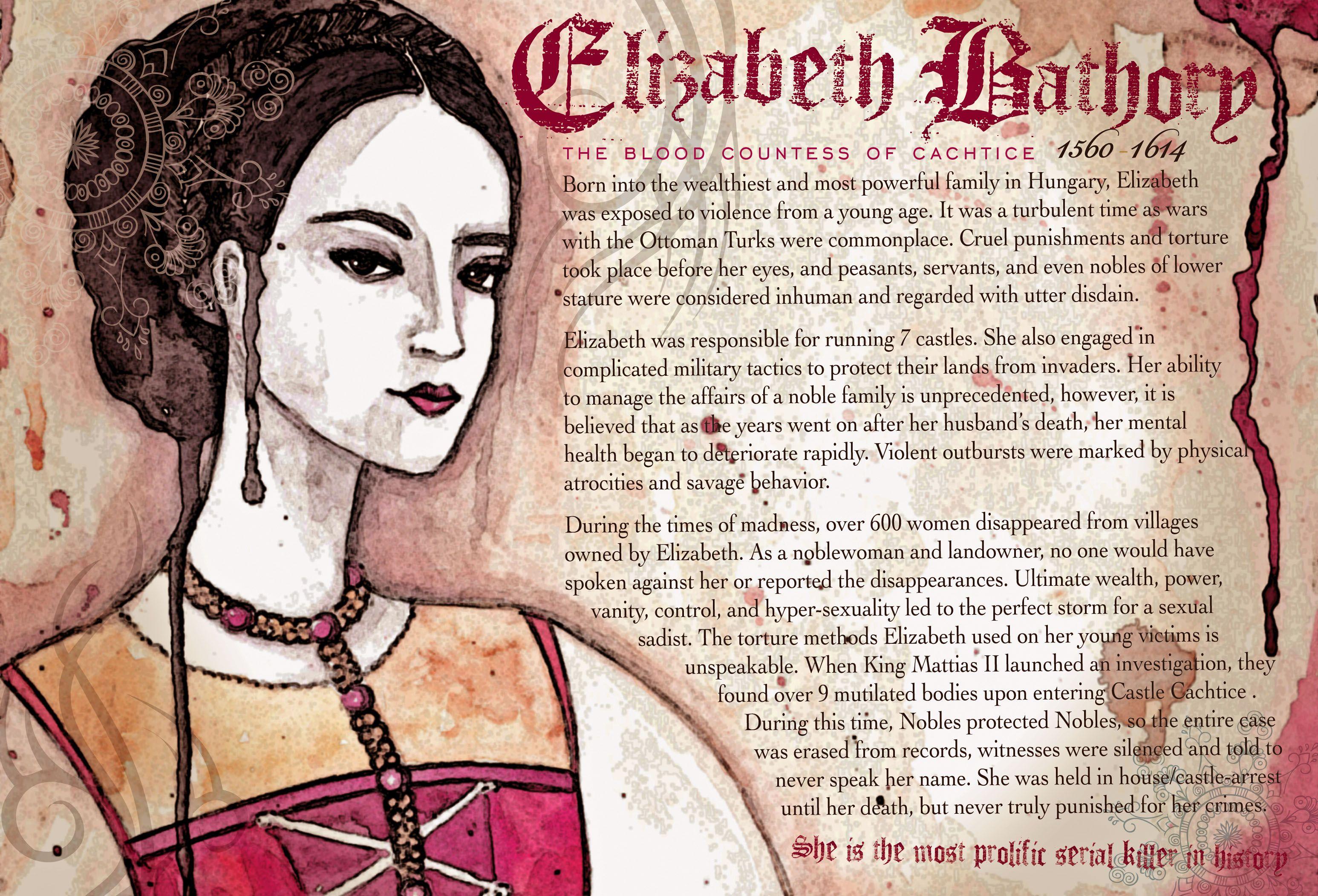 the historic case of bloody elizabeth bathory The bloody countess // elizabeth  historical figure aesthetic:  but ferid has the same surname as elizabeth bathory, an infamous female serial killer .