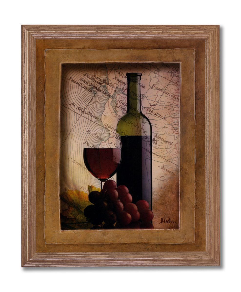 Tuscan red grapes wine bottle kitchen home decor wall picture framed