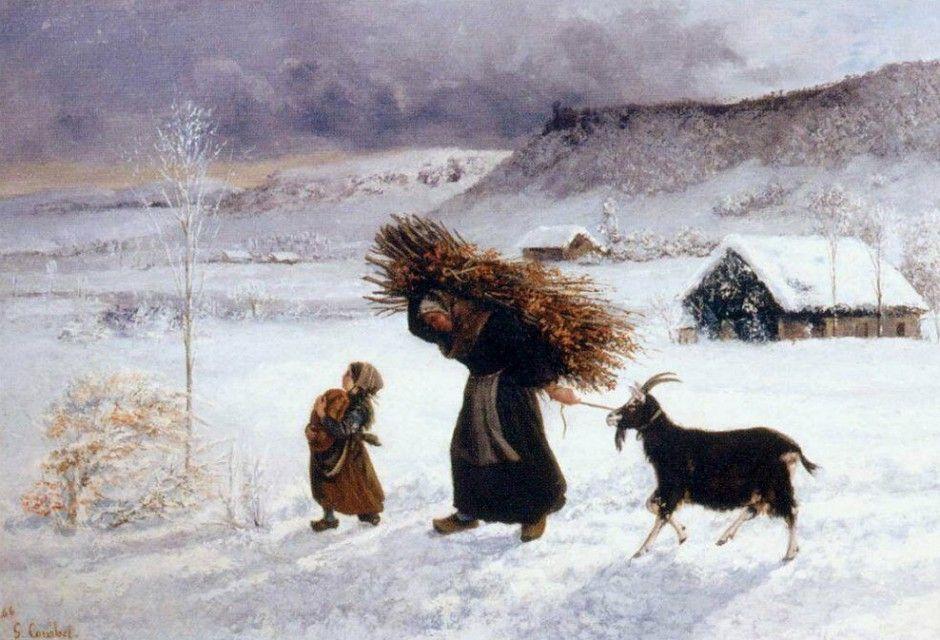 Povera donna del villaggio  Dipinto di Gustave Courbet pittore francese