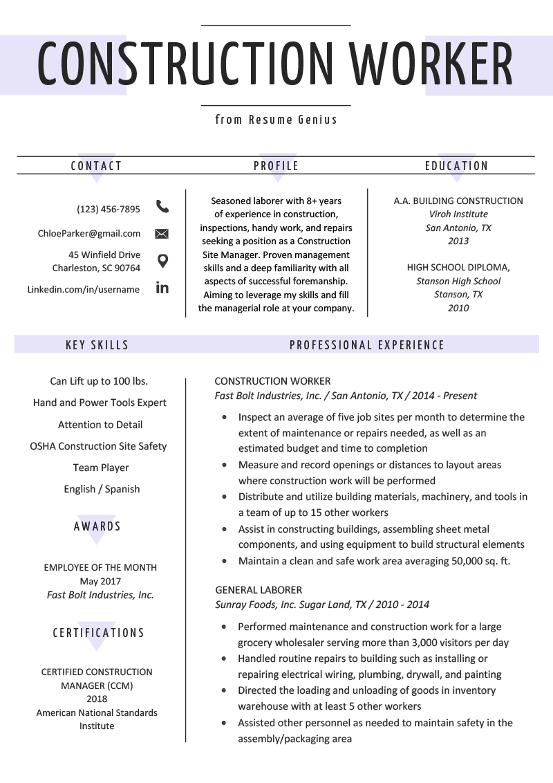 Construction Worker Resume Example & Writing Guide