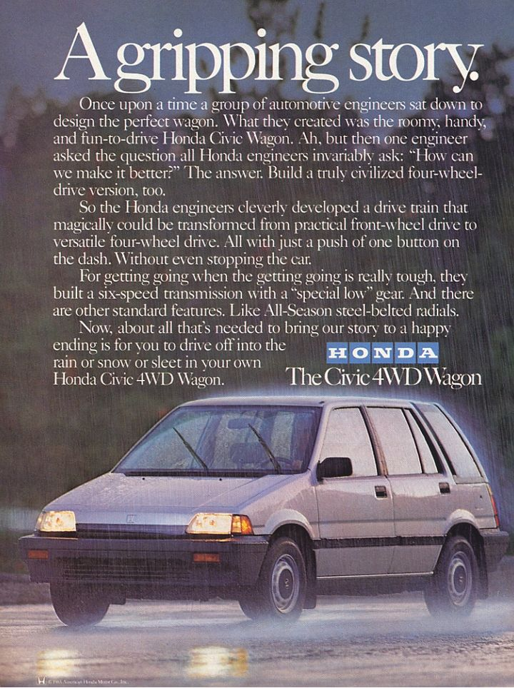 Old Honda Civic 4x4 Wagon Advertisement These Things Are Great I