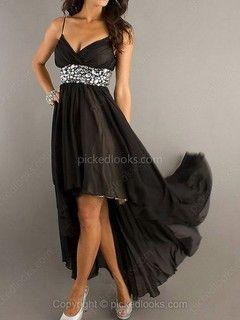 Chiffon Spaghetti Straps Asymmetrical A-line Rhinestone Prom Dresses -NZ$129.99