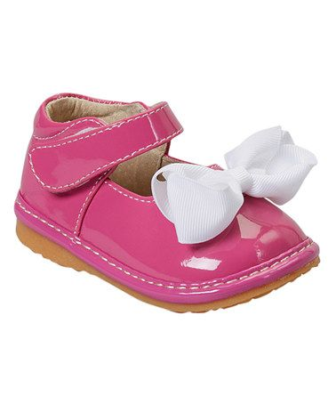 Loving this Hot Pink Patent Squeaker Mary Jane on #zulily! #zulilyfinds