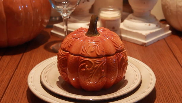 Pumpkin Bowl from Pier 1 (closed). Part of my Thanksgiving Table Setting and Fall Decoration. Watch the full video here https://www.youtube.com/watch?v=zbw1-6irL4M