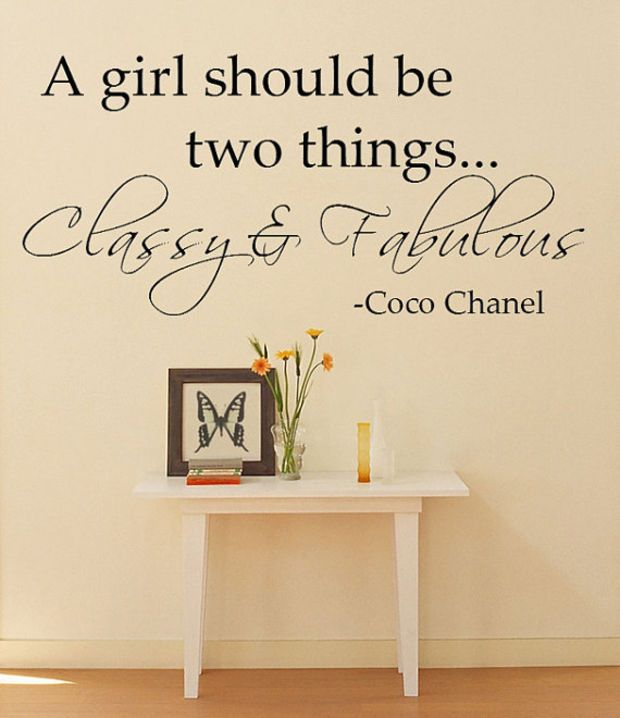 Classy U0026 Fabulous Coco Chanel Quote Wall Decal: This Would Perfect In My  Bedroom.
