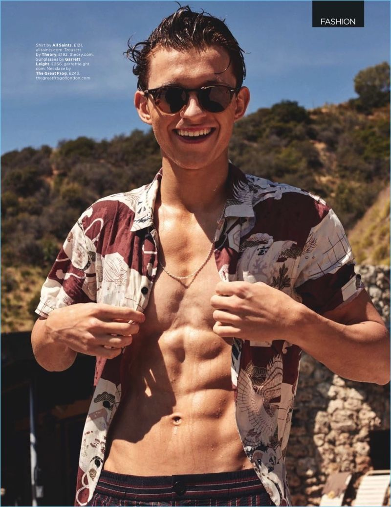b0871ee00359 King of Swing  Tom Holland Relaxes Poolside with British GQ ...