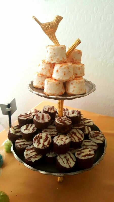 Toasted coconut tea cake , and brownies covered on with chocolate.