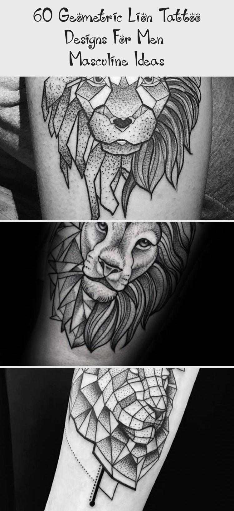 60 Geometric Lion Tattoo Designs For Men  Masculine Ideas  Tattoo Blog  Upper Chest Broken Geometric Lion Tattoo On Men