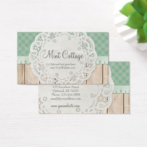 Shabby country chic doily on wood mint cottage business card shabby country chic doily on wood mint cottage business card reheart Image collections