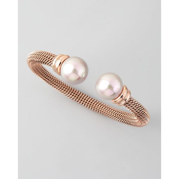 Majorica Pearl-Cap Bangle, Rose Gold