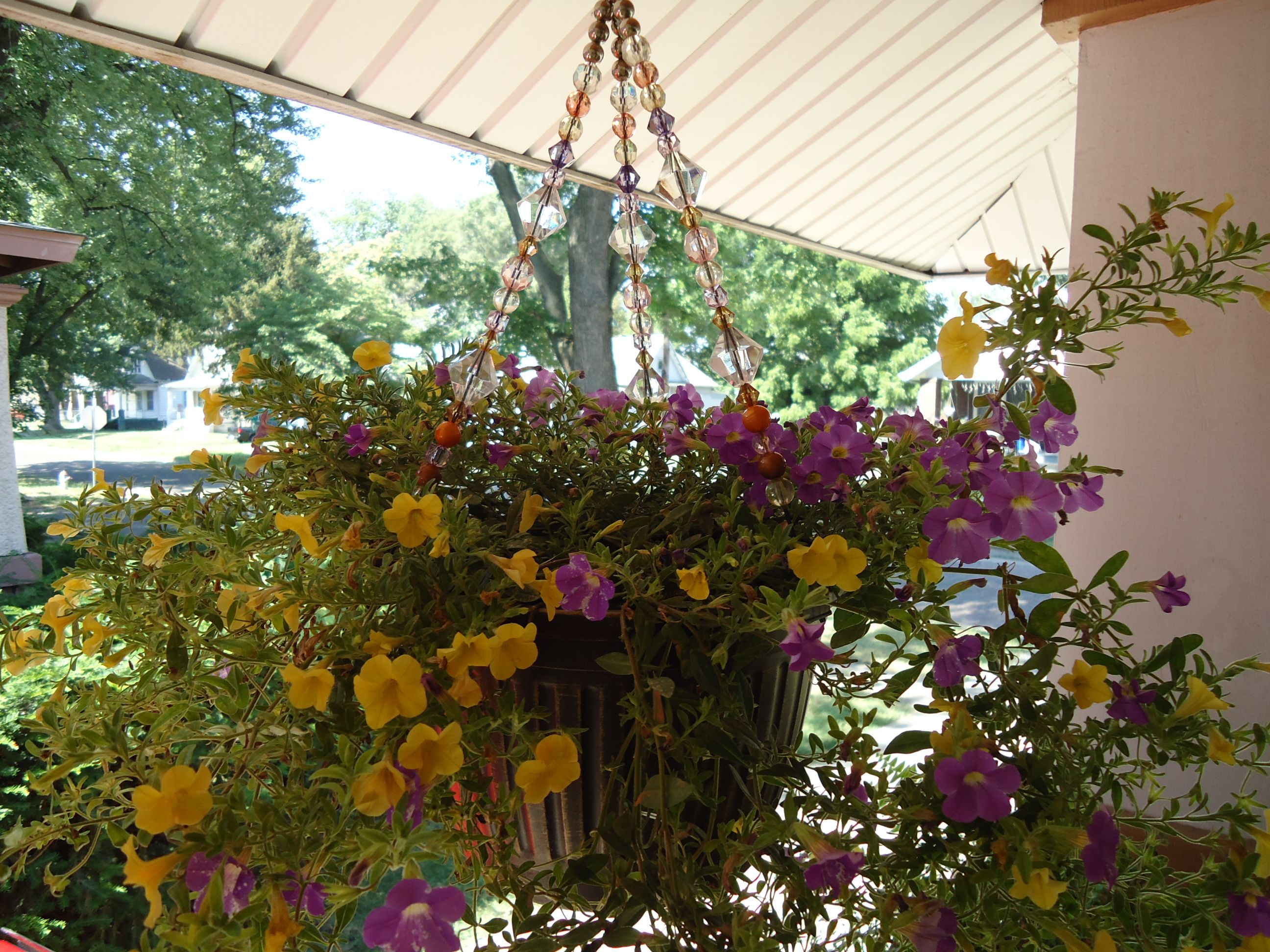 Hanging Flower Basket with Beads on hanger!! From Walmart!!