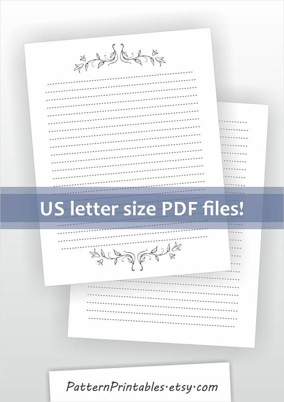 printable lined letter writing paper lily drawing ornament