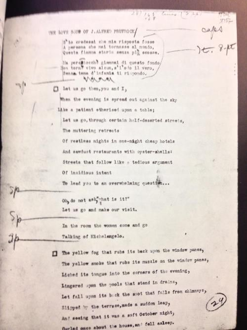 "poetry s typescript of ""the love song of j alfred prufrock "" on  poetry s typescript of ""the love song of j alfred prufrock "" on t s"