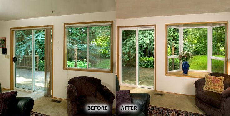 Renovated Living Room Windows Before Aluminum Frame Sliding Door And Horizontal Slider After Milgard Mon Vinyl Bay Window Windows Horizontal Sliding Windows
