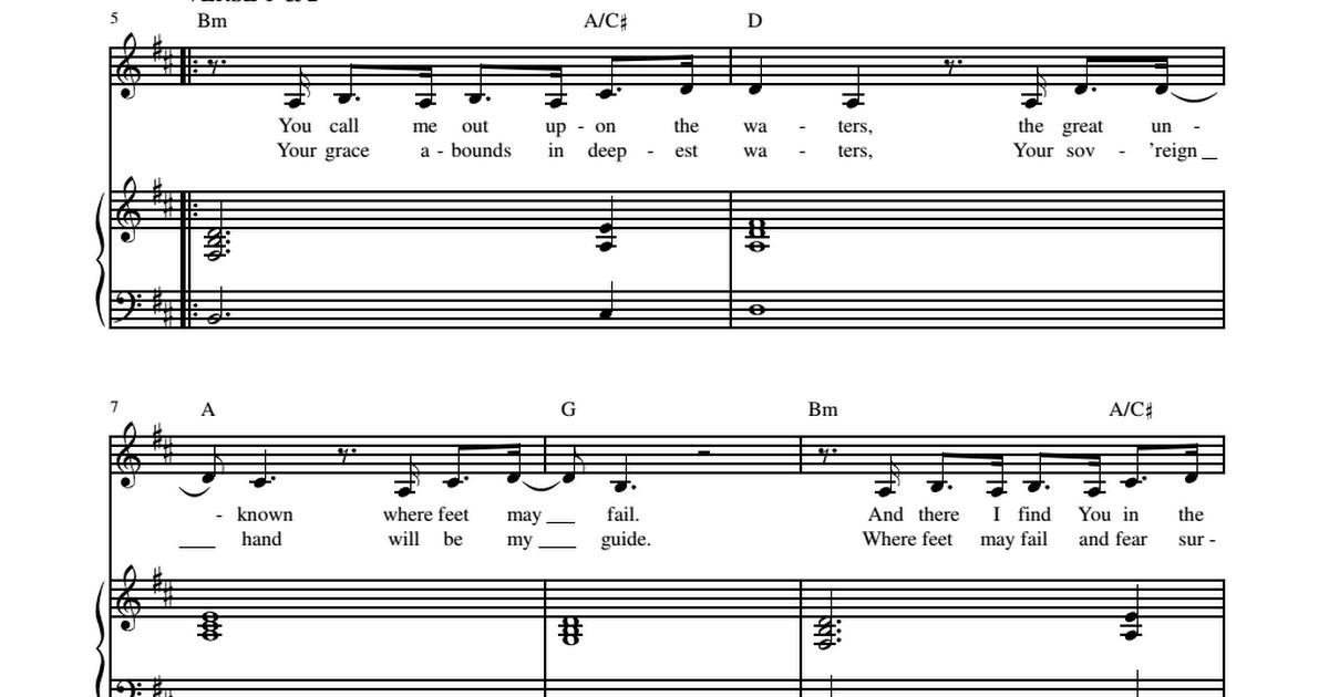 Oceans Sheet Music Hillsong United Sheetmusic Freepdf Sheet