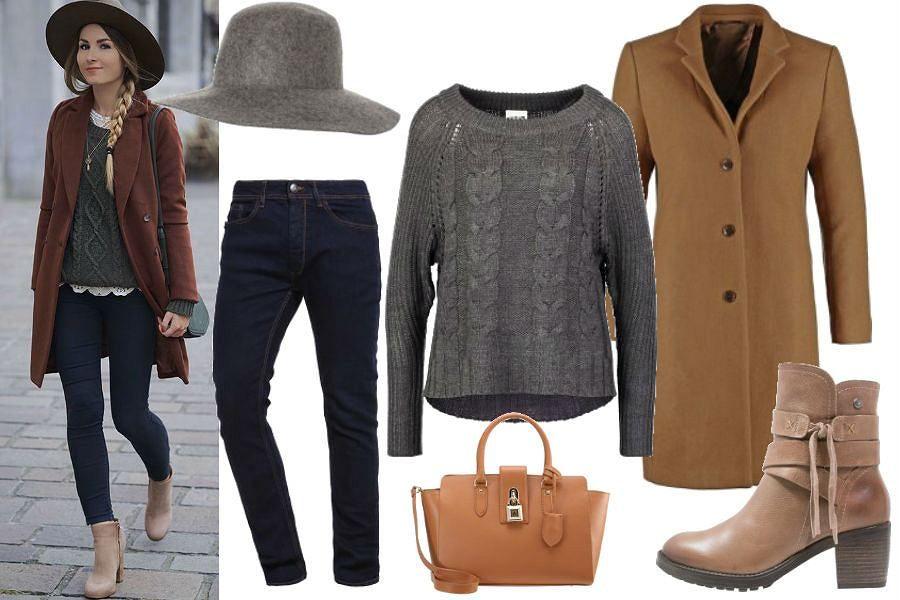 Gurl Com Szary Sweter Camelowy Plaszcz Brazowe Botki Casual Fashion Style