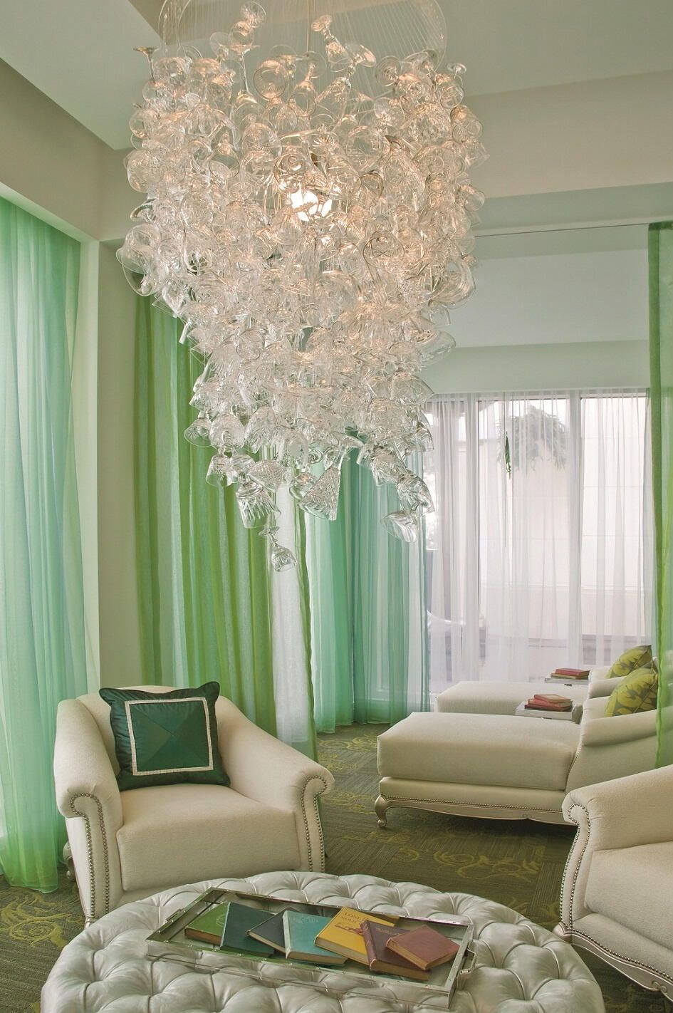 The cut glass chandelier in the Ritz Carlton\'s Eau Spa\'s Relaxation ...