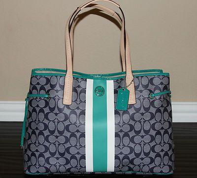 COACH Signature Travel Weekend Laptop Diaper Baby Book Bag Tote Purse XL 378