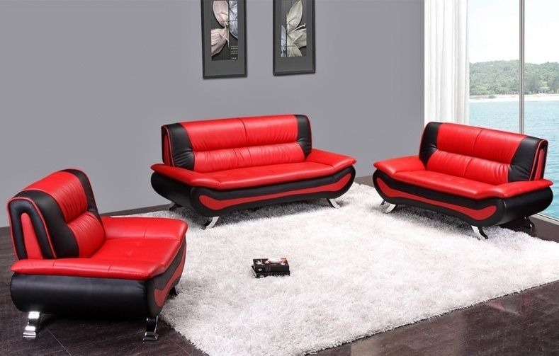 Red And Black Couch Set Living Room Furn Black Leather Sofas