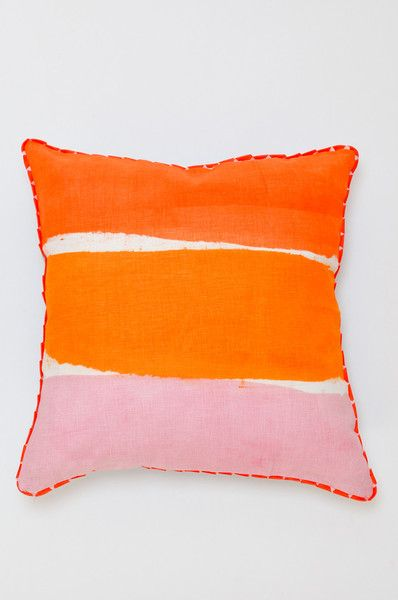 Stripe Pillow - Blue + Orange - handmade in Australia by desginers Bonnie and Neil.