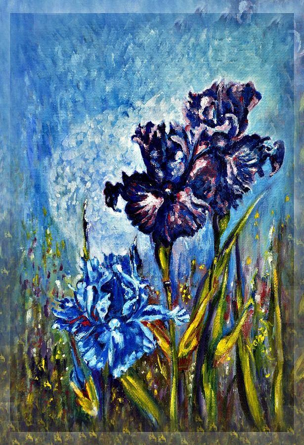 Flowers Painting - Iris by Harsh Malik