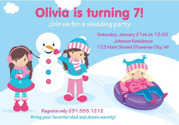 Snow Tubing Invitation Girls Tubing Birthday By Announceitfavors