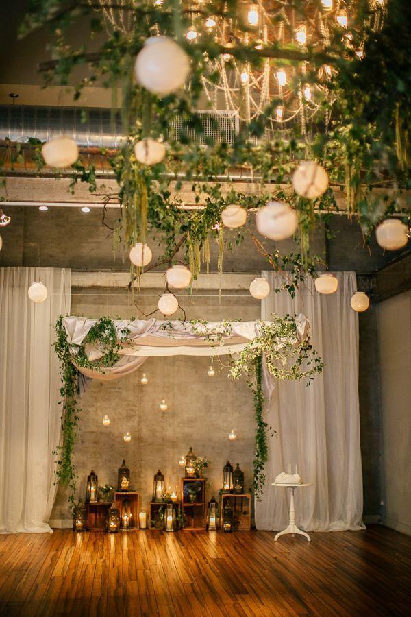 chic rustic paper lantern hanging wedding decorations