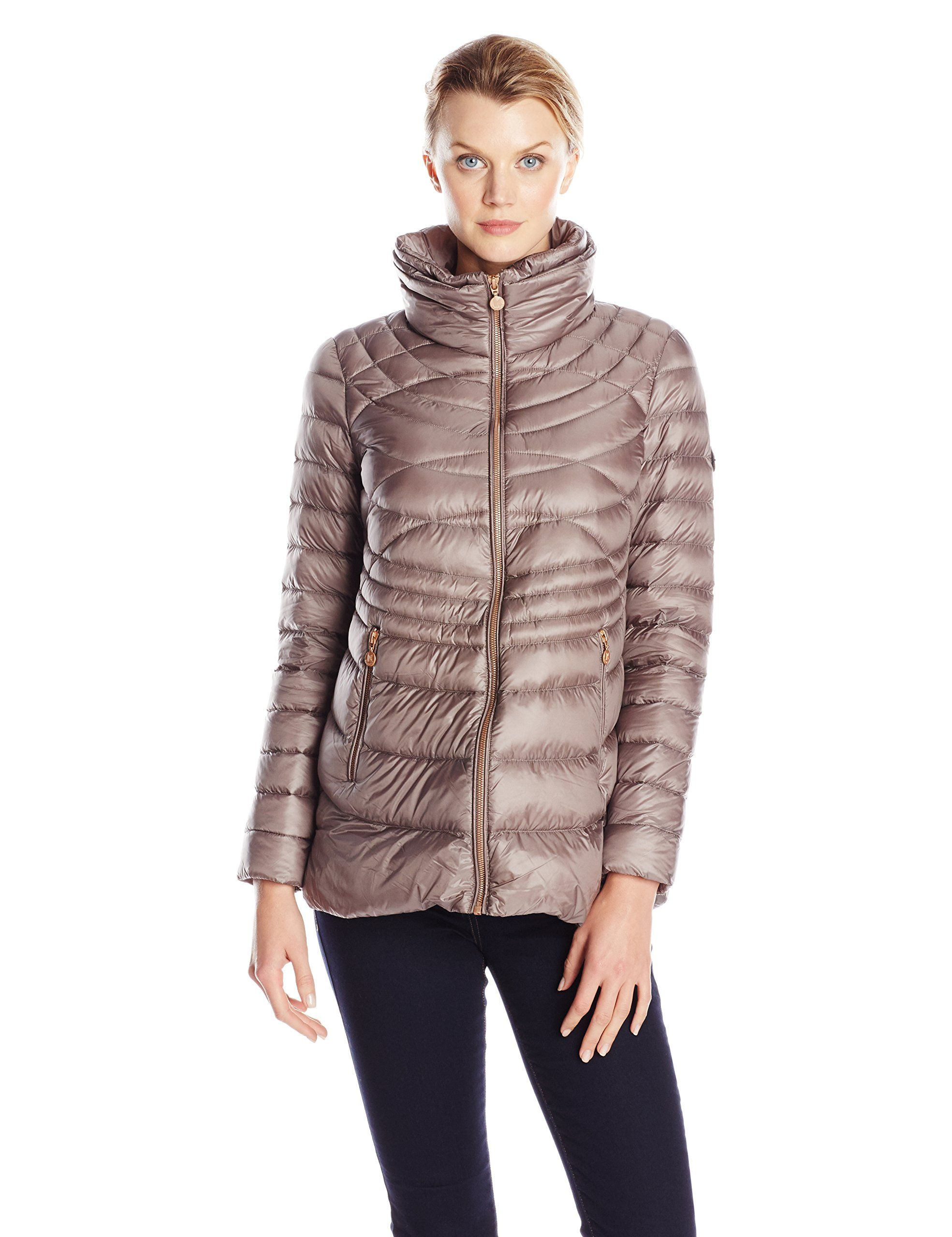 Bernardo Women's Packable Down Coat with Side Panels, Forest, X ...