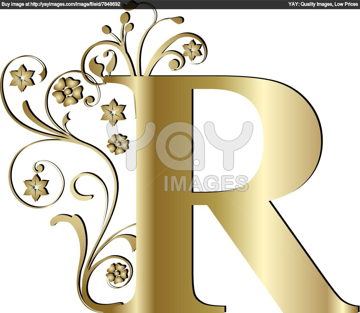 letter r Royalty Free Vector of Capital Letter R Gold