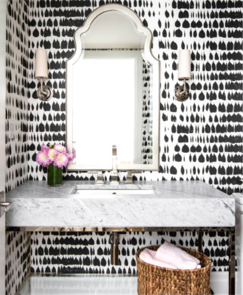 Schumachers Queen Of Spain Black Wallpaper In This Powder Room By Ali Budd Interiors Photo