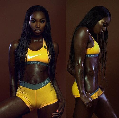 naked slim dark skinned woman