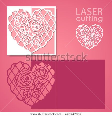 Laser cut wedding invitation or greeting card template vector with