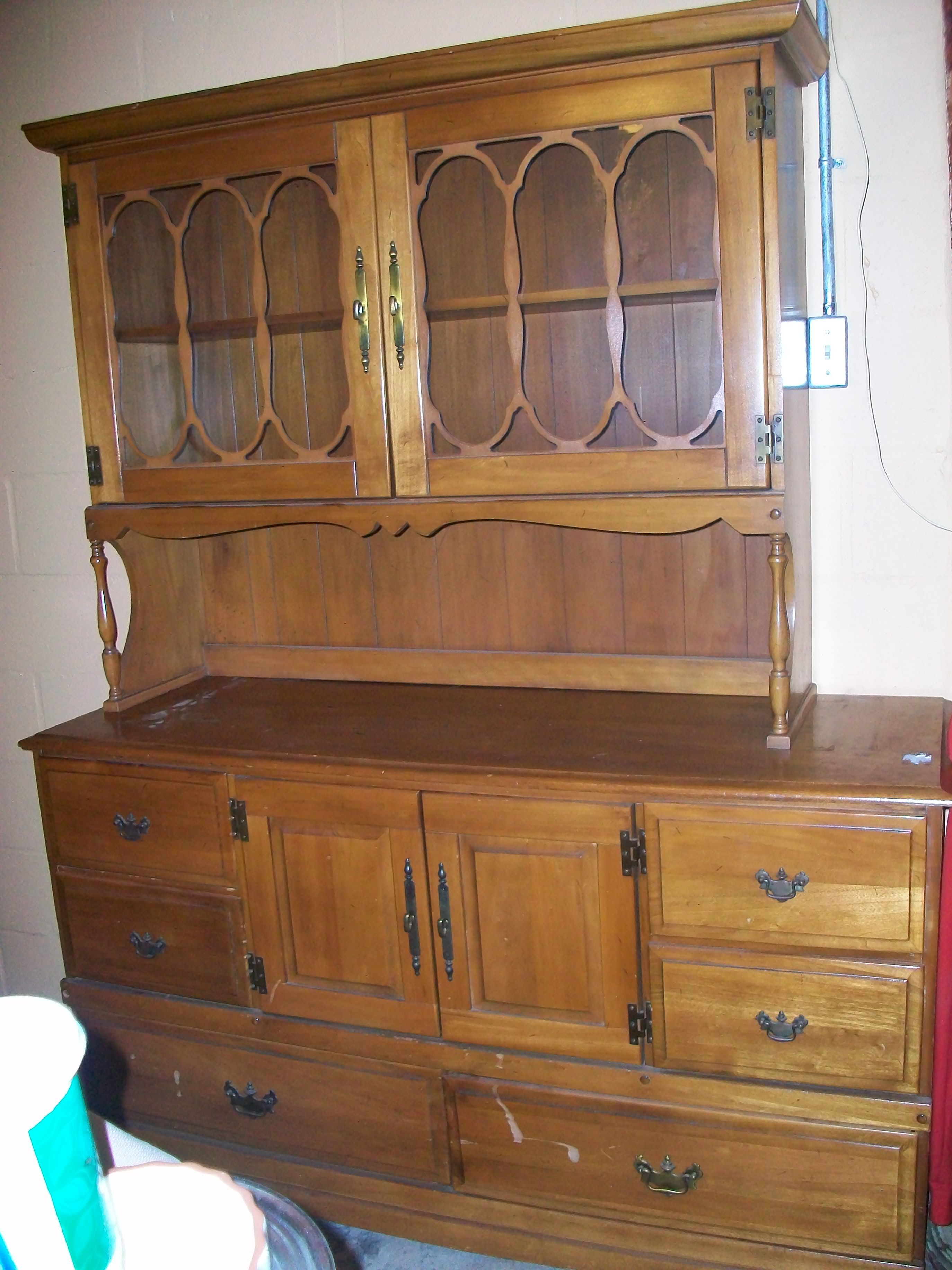 Ann mirror insert double door single drawer wooden corner cabinet - Great Maple China Hutch Has 6 Drawers 1 Lg Cabinet And Double Glass Doors