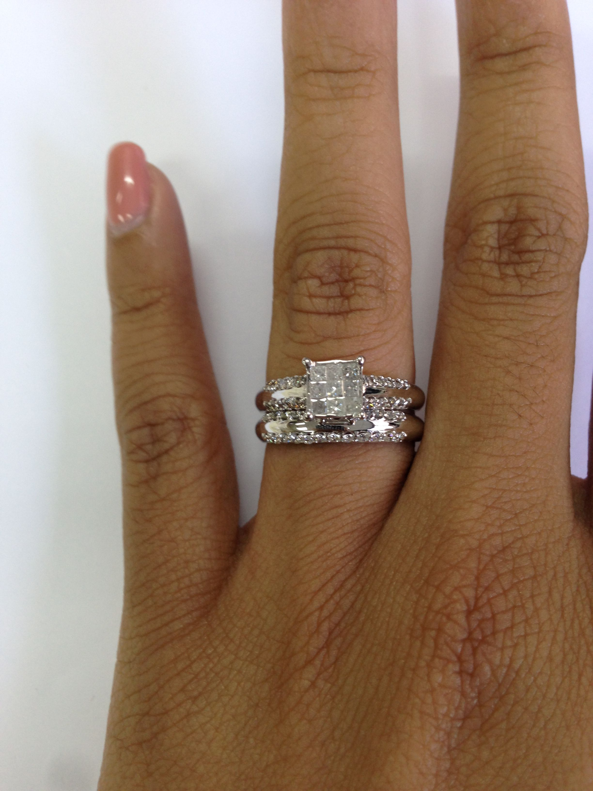Rings on Hand Bridal Set BR104W (Engagement Ring and