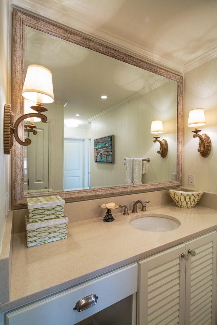 Elegant Bathroom Decor With Large Framed Bathroom Mirrors Design