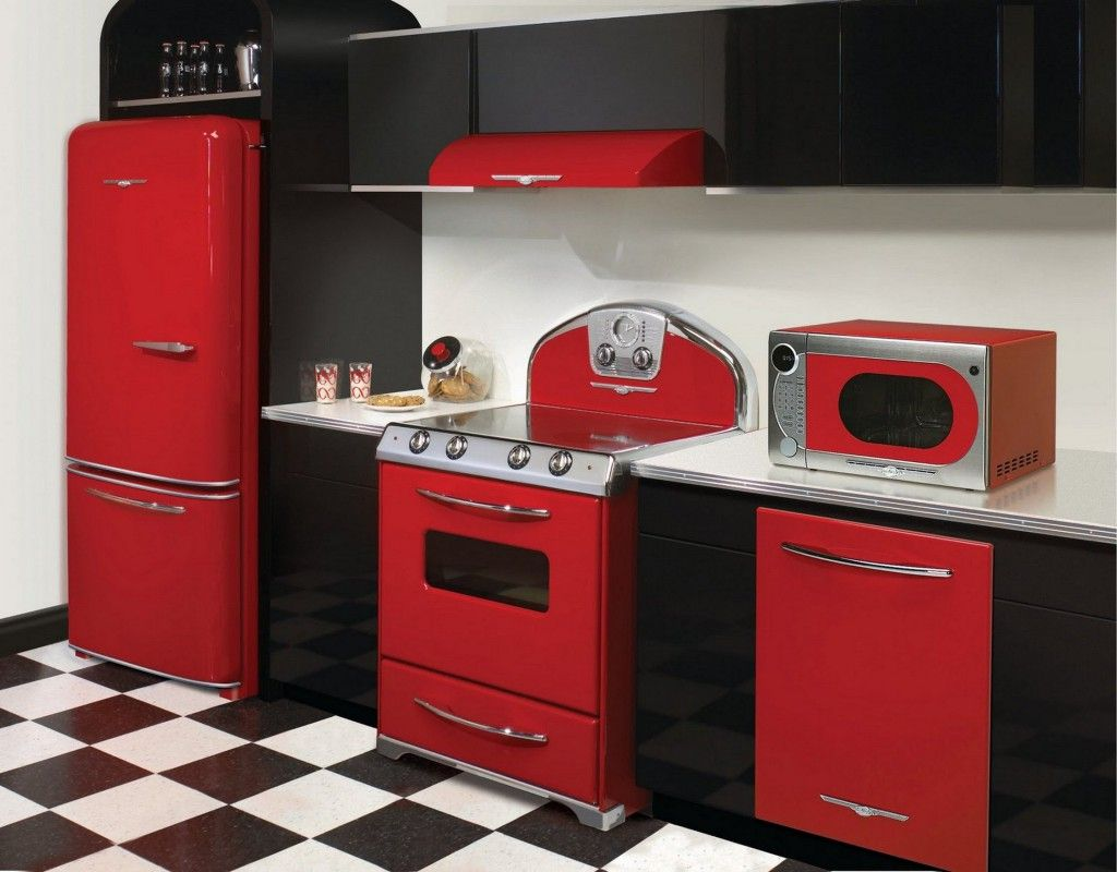Fascinating retro kitchen design ideas with black and red for Black gloss kitchen ideas