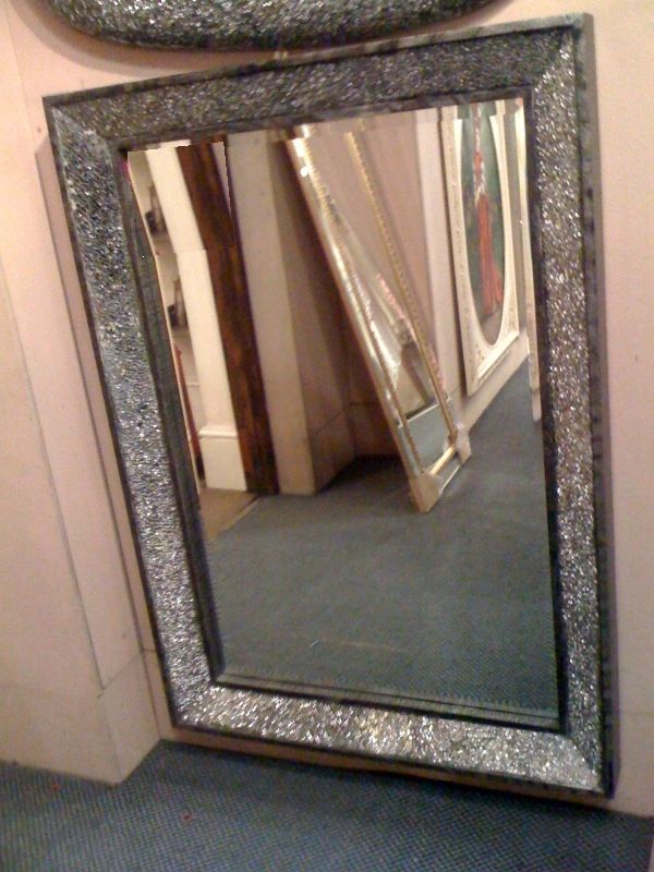 Crushed Glass Sparkle Mirror Antique Mirror Wall Mirror Design Wall Framed Mirror Wall