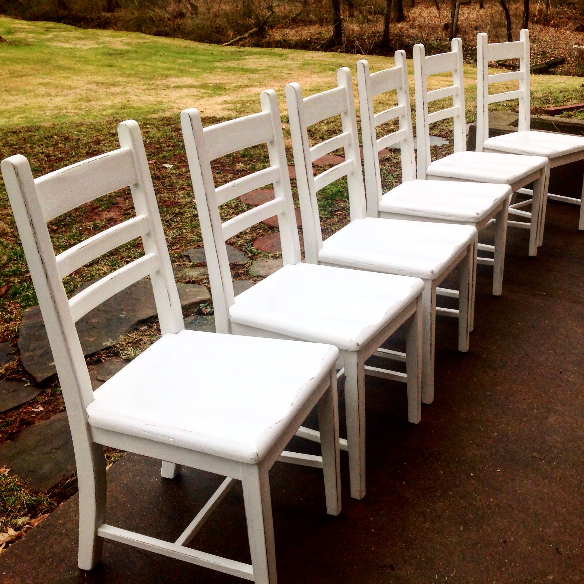 Farmhouse chairs finished in Rustoleum's Chalked paint in