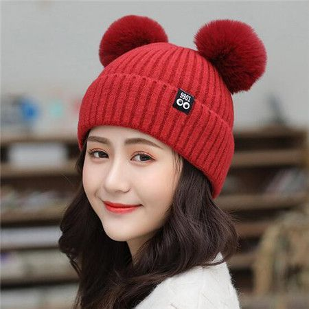 8d87dbac373 Knit beanie hat with two pom poms for women warm winter hats ...
