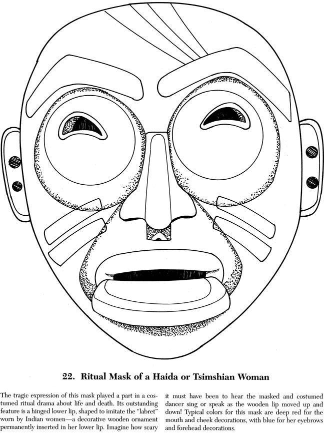 indian tribal masks coloring pages - photo#5