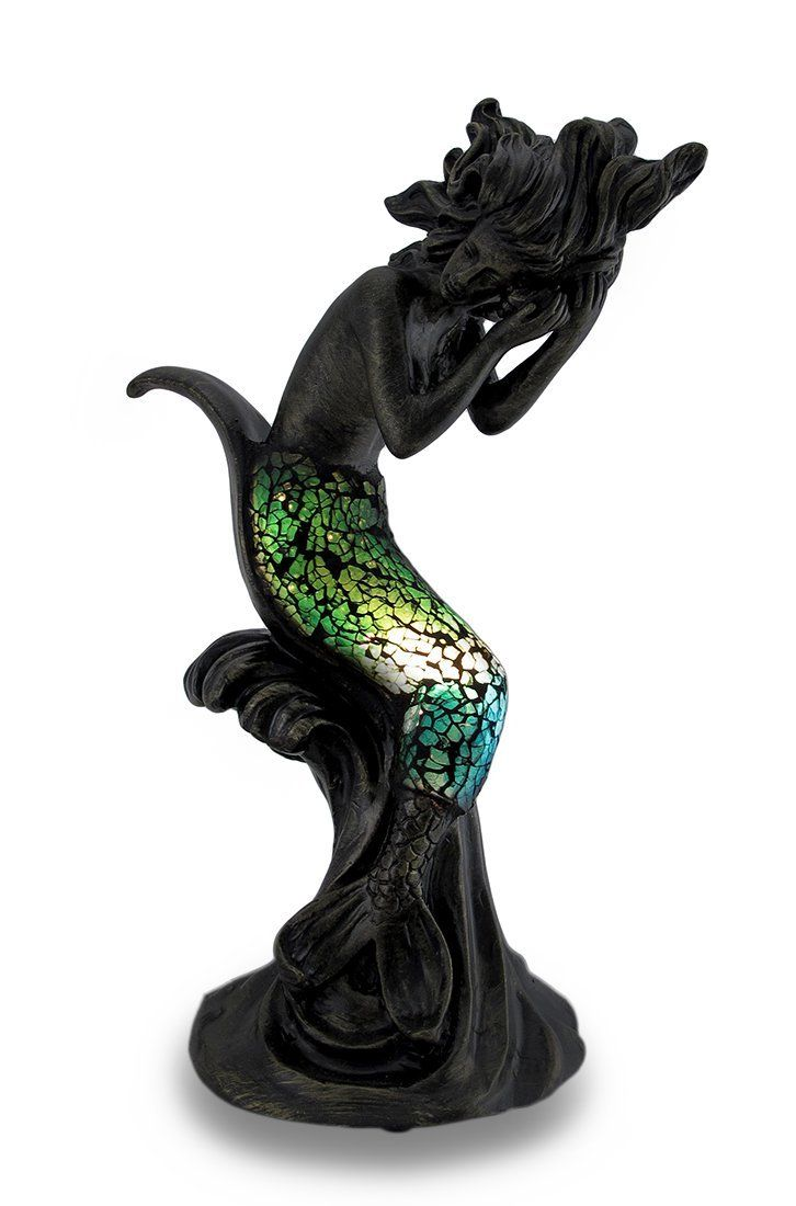 Mermaid accent lamp - Green And Blue Crackled Glass Sitting Mermaid Holding Conch Shell Accent Lamp 12 In