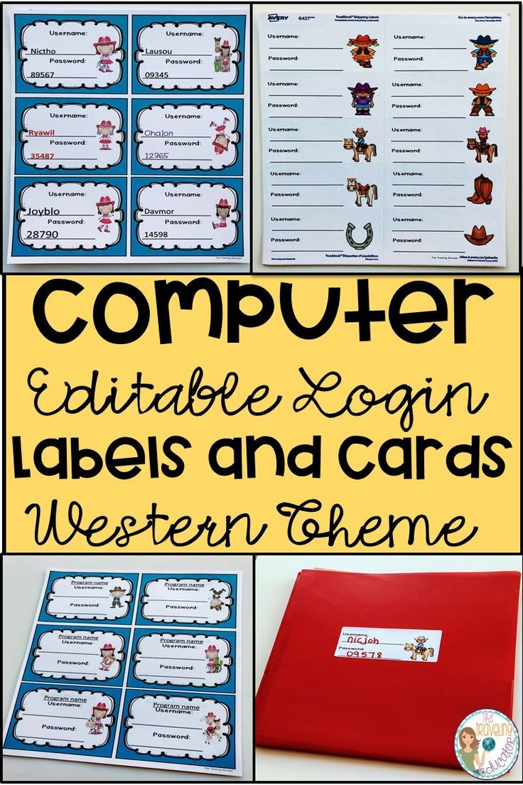 Computer Login Labels and Cards (Western Theme